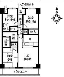 サンドマーニ弐号館[4階]の間取り