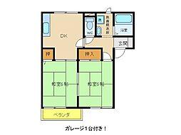 兵庫県明石市立石2丁目の賃貸アパートの間取り