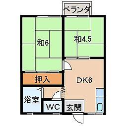 室山ハイツ[2階]の間取り