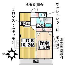 愛知県名古屋市千種区鹿子町4丁目の賃貸アパートの間取り