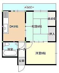 中須コーポラス[316号室]の間取り