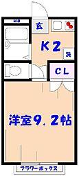 千葉県市川市中国分2丁目の賃貸アパートの間取り