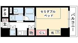 プログレンス栄 7階1Kの間取り