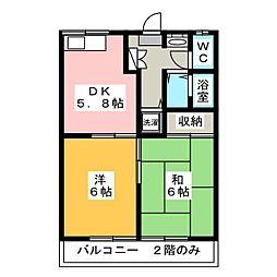 エステートピア高木[2階]の間取り