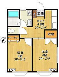 コーポ飯島[1階]の間取り