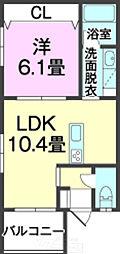 沖縄県中頭郡中城村南上原1064番地の賃貸アパート 2階1LDKの間取り