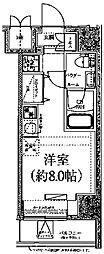 クラリッサ川崎ブルーノ 4階ワンルームの間取り