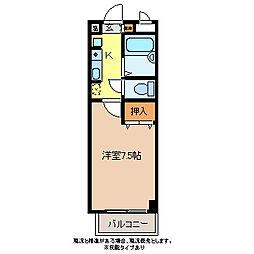 クレセント井原[4階]の間取り