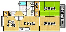 兵庫県神戸市西区南別府4丁目の賃貸アパートの間取り