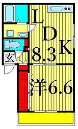 南小岩1丁目計画 2階1LDKの間取り