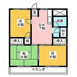 第2パレス佐藤[6階]の間取り