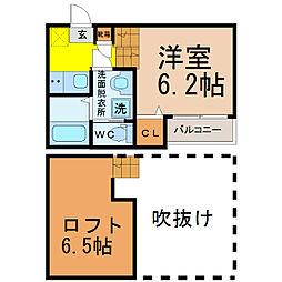 愛知県名古屋市東区筒井3丁目の賃貸アパートの間取り