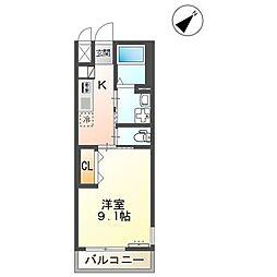 JR山陽本線 大門駅 徒歩10分の賃貸アパート 2階1Kの間取り