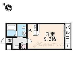 阪急京都本線 西京極駅 徒歩4分の賃貸マンション 2階ワンルームの間取り
