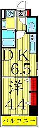 ミューズ竹の塚 4階1DKの間取り