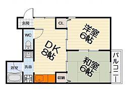 大阪府堺市西区浜寺石津町中4丁の賃貸アパートの間取り