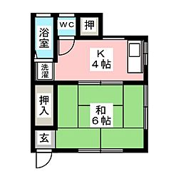 毛利アパート[1階]の間取り