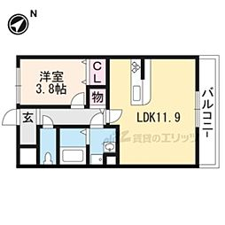JR草津線 手原駅 徒歩11分の賃貸アパート 2階1LDKの間取り