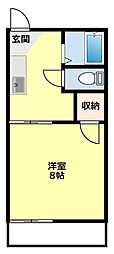 愛知県豊田市貝津町奥洞の賃貸アパートの間取り
