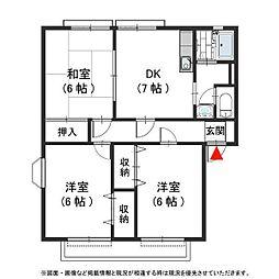 アトリウム12 B棟[1階]の間取り