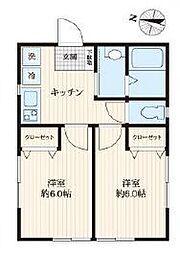 都営新宿線 篠崎駅 徒歩5分の賃貸マンション 1階2Kの間取り