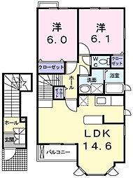 ルナパレスD[2階]の間取り
