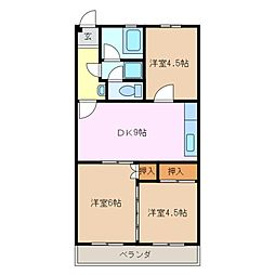 三重県亀山市東御幸町の賃貸マンションの間取り
