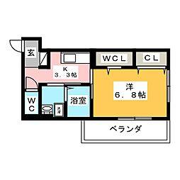 アルシオネ岡山駅西 1階1Kの間取り
