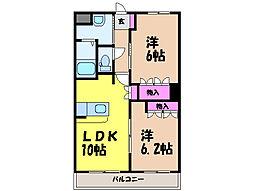 愛媛県松山市富久町の賃貸アパートの間取り