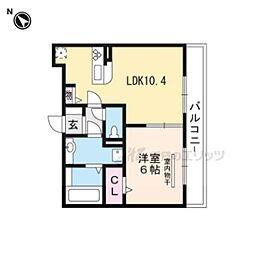 仮称)栗東市小柿1丁目D-ROOM B棟 2階1LDKの間取り