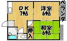 福岡県北九州市小倉北区篠崎2丁目の賃貸マンションの間取り