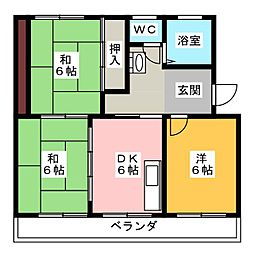サンハイツ三保[2階]の間取り