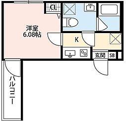 神奈川県大和市林間1丁目の賃貸アパートの間取り