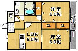 兵庫県宝塚市大吹町の賃貸アパートの間取り