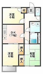 平岡ハイツA棟[103号室]の間取り