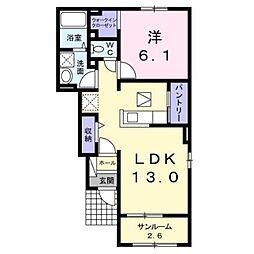 ラパンI 1階1LDKの間取り