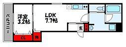 JR鹿児島本線 福工大前駅 徒歩7分の賃貸アパート 3階1LDKの間取り
