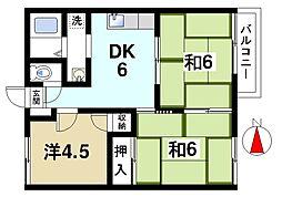 クリスタルパレス西ノ京[2階]の間取り