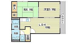 兵庫県姫路市梅ケ谷町の賃貸アパートの間取り