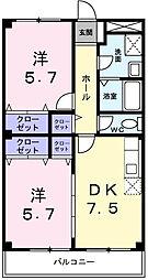 オーク伊川[3階]の間取り