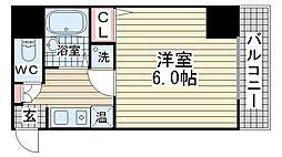 ヒューネット神戸元町通[401号室]の間取り
