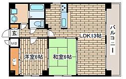 兵庫県神戸市中央区多聞通5丁目の賃貸マンションの間取り