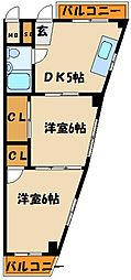 第61川辺ビル[3階]の間取り