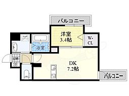 JR東海道・山陽本線 東淀川駅 徒歩1分の賃貸マンション 3階1DKの間取り