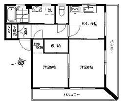 ロジュマン東山 4階2Kの間取り