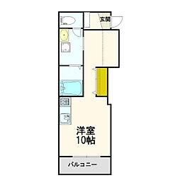 札幌市営東西線 大谷地駅 徒歩15分の賃貸アパート 3階ワンルームの間取り