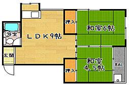 山口マンション[3A号室]の間取り