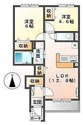 近鉄田原本線 池部駅 徒歩29分の賃貸アパート 1階2LDKの間取り