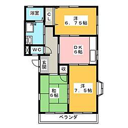 かしの木ハイツ B棟[2階]の間取り