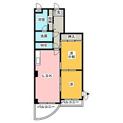 シャトーカワイ[2階]の間取り